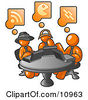 Three Orange Men Using Laptops In An Internet Cafe Clipart Illustration by Leo Blanchette