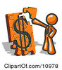 Orange Businessman Putting A Dollar Sign Puzzle Together Clipart Illustration by Leo Blanchette