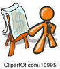 Orange Business Man Standing By A Dollar Sign Puzzle On A Presentation Board During A Meeting Clipart Illustration by Leo Blanchette