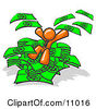 Orange Business Man Jumping In A Pile Of Money And Throwing Cash Into The Air Clipart Illustration by Leo Blanchette