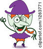 Clipart Of A Halloween Witch Winking Royalty Free Vector Illustration by Zooco