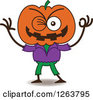 Clipart Of A Halloween Jackolantern Scarecrow Winking Royalty Free Vector Illustration by Zooco