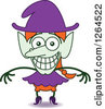 Clipart Of A Halloween Witch Grinning From Embarassment Royalty Free Vector Illustration by Zooco