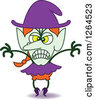 Clipart Of A Halloween Witch Being Scary Royalty Free Vector Illustration by Zooco