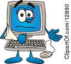 Clipart Picture Of A Desktop Computer Mascot Cartoon Character With His Arm In A Sling by Toons4Biz