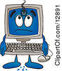 Clipart Picture Of A Desktop Computer Mascot Cartoon Character With A Hole In His Screen by Toons4Biz