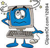 Clipart Picture Of A Desktop Computer Mascot Cartoon Character Confused And Seeing Stars by Toons4Biz