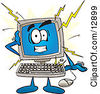 Clipart Picture Of A Desktop Computer Mascot Cartoon Character Crashing by Toons4Biz