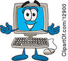Clipart Picture Of A Desktop Computer Mascot Cartoon Character With Welcoming Open Arms by Toons4Biz