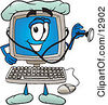 Clipart Picture Of A Desktop Computer Mascot Cartoon Character Doctor Holding A Stethoscope by Toons4Biz