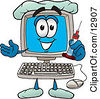 Clipart Picture Of A Desktop Computer Mascot Cartoon Character Holding A Syringe by Toons4Biz