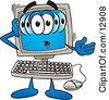 Clipart Picture Of A Confused Desktop Computer Mascot Cartoon Character by Toons4Biz
