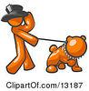 Orange Man Walking A Tough Bulldog On A Leash Clipart Illustration by Leo Blanchette
