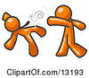 Orange Man Being Punched By Another Clipart Illustration by Leo Blanchette