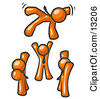 Group Of Orange Men Tossing Another Into The Air Clipart Illustration by Leo Blanchette
