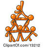 Group Of Orange Businessmen Piling Up To Form A Pyramid Clipart Illustration by Leo Blanchette