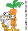 Clipart Of A Toque Chefs Hat Mascot Character Posing With A Carrot Royalty Free Vector Illustration by Toons4Biz