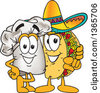 Clipart Of A Toque Chefs Hat Mascot Character Posing With A Pointing Taco Character Royalty Free Vector Illustration by Toons4Biz