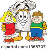 Clipart Of A Toque Chefs Hat Mascot Character Posing With Children Royalty Free Vector Illustration by Toons4Biz