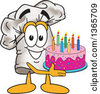 Clipart Of A Toque Chefs Hat Mascot Character Holding A Birthday Cake Royalty Free Vector Illustration by Toons4Biz
