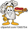 Clipart Of A Toque Chefs Hat Mascot Character Serving Beef And A Drumstick On A Tray Royalty Free Vector Illustration by Toons4Biz