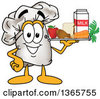 Clipart Of A Toque Chefs Hat Mascot Character Serving Foods On A Tray Royalty Free Vector Illustration by Toons4Biz