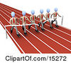 Team Of Businessmen In Matching Uniforms Running A Marathon On A Race Track And Completing A Race At The Same Time Clipart Illustration Image by 3poD