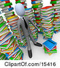 Businessman Doing Research In A Library Full Of An Unorganized Mess Of Colorful Stacked Books Clipart Illustration Image by 3poD