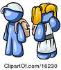 Blue Boy Wearing A Hat And Carrying A Backpack Standing Beside A Blond Blue Girl In A Dress Who Is Also Carrying A Backpack And Holding Her Hand By Her Mouth Clipart Graphic by Leo Blanchette