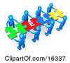 Team Of 8 Blue People Holding Up Connected Pieces To A Colorful Puzzle That Spells Out Team Symbolizing Excellent Teamwork Success And Link Exchanging Clipart Illustration Graphic by 3poD