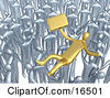 Crowd Of Silver Businessmen Lifting A Gold Man Up High Symbolizing Celebration Praise And Success Clipart Illustration Graphic by 3poD