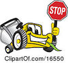 Clipart Picture Of A Yellow Lawn Mower Mascot Cartoon Character Facing Front And Holding A Stop Sign by Toons4Biz