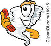 Clipart Picture Of A Tornado Mascot Cartoon Character Holding And Pointing To A Red Phone by Toons4Biz