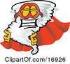 Clipart Picture Of A Tornado Mascot Cartoon Character In A Cape And Super Hero Mask by Toons4Biz