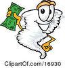 Clipart Picture Of A Tornado Mascot Cartoon Character Waving A Green Dollar Bill by Toons4Biz
