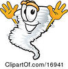 Clipart Picture Of A Tornado Mascot Cartoon Character Jumping by Toons4Biz