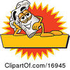 Clipart Picture Of A Chefs Hat Mascot Cartoon Character Resting Over A Blank Yellow Label by Toons4Biz