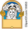 Clipart Picture Of A Chefs Hat Mascot Cartoon Character On A Blank Label by Toons4Biz