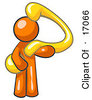 Orange Man Carrying A Large Yellow Question Mark Over His Shoulder Symbolizing Curiousity Uncertainty Or Confusion Clipart Illustration by Leo Blanchette