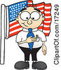 Clipart Picture Of A Patriotic Male Caucasian Office Nerd Business Man Mascot Cartoon Character Pledging Allegiance To An American Flag by Toons4Biz