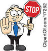 Clipart Picture Of A Male Caucasian Office Nerd Business Man Mascot Cartoon Character Holding A Stop Sign by Toons4Biz