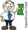 Clipart Picture Of A Male Caucasian Office Nerd Business Man Mascot Cartoon Character Holding A Dollar Bill by Toons4Biz