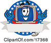 Clipart Picture Of A Desktop Computer Mascot Cartoon Character On A Blank Label With An American Theme by Toons4Biz