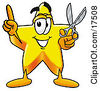 Clipart Picture Of A Star Mascot Cartoon Character Holding A Pair Of Scissors by Toons4Biz