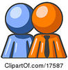 Clipart Illustration Of A Blue Person Standing Beside An Orange Businessman Symbolizing Teamwork Or Mentoring by Leo Blanchette