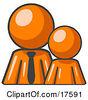 Clipart Illustration Of An Orange Child Or Employee Standing Beside A Bigger Orange Businessman Symbolizing Management Parenting Or Mentorship by Leo Blanchette