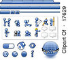 Blue Man Web Design Kit With Tabs Icons And Web Buttons Clipart Illustration by Leo Blanchette