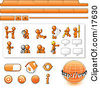 Orange Man Web Design Kit With Tabs Icons And Web Buttons Clipart Illustration by Leo Blanchette