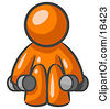 Clipart Illustration Of An Orange Man Lifting Dumbbells While Strength Training by Leo Blanchette