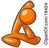 Clipart Illustration Of An Orange Man Sitting On A Gym Floor And Stretching His Arm Up And Behind His Head by Leo Blanchette